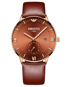 Basic Casual Genuine Leather Strap Watch For Men
