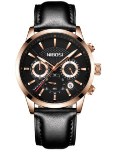 Cool Men's Chronometer Watch With Genuine Leather Strap