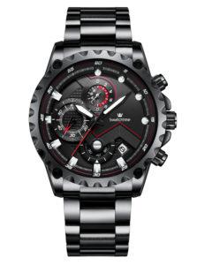 44mm Big Watch Black Men's Business Chronograph Watch