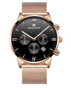 43mm Men's Rose Gold Ultra Thin Chronopraph Watch