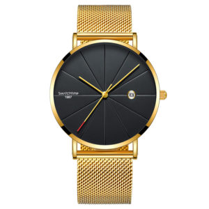 40mm Alloy Ultra Thin Case Minimalist Watch With Date