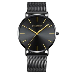 40mm Black Stainless Steel Mesh Band Unisex Ultra Thin Minimalist Watch