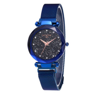 Hot Selling Magnetic Mesh Band Fashion Sexy Lady Blue Wrist Watch with Japan Movement
