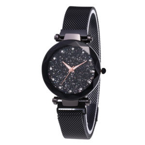 Custom/Wholesale Japan Movement Fashion Lady Black Wrist Watch With Magnetic Mesh Band