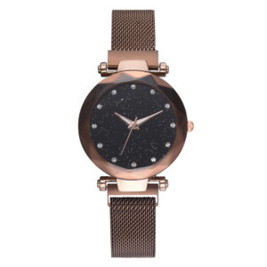 Custom Watch LOGO Japan Movement Fashion Lady Rose Gold Wrist Watch With Magnetic Mesh Band