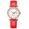 fashion lady watch with diamond bezel leather strap (1)