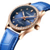fashion lady watch with diamond bezel leather strap (7)