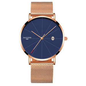 40mm Rose Gold Stainless Steel Ultra Thin Minimalist Watch With Date