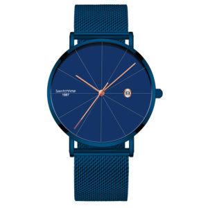 40mm Blue Ultra Thin Stainless Steel Unisex Minimalist Watch With Date
