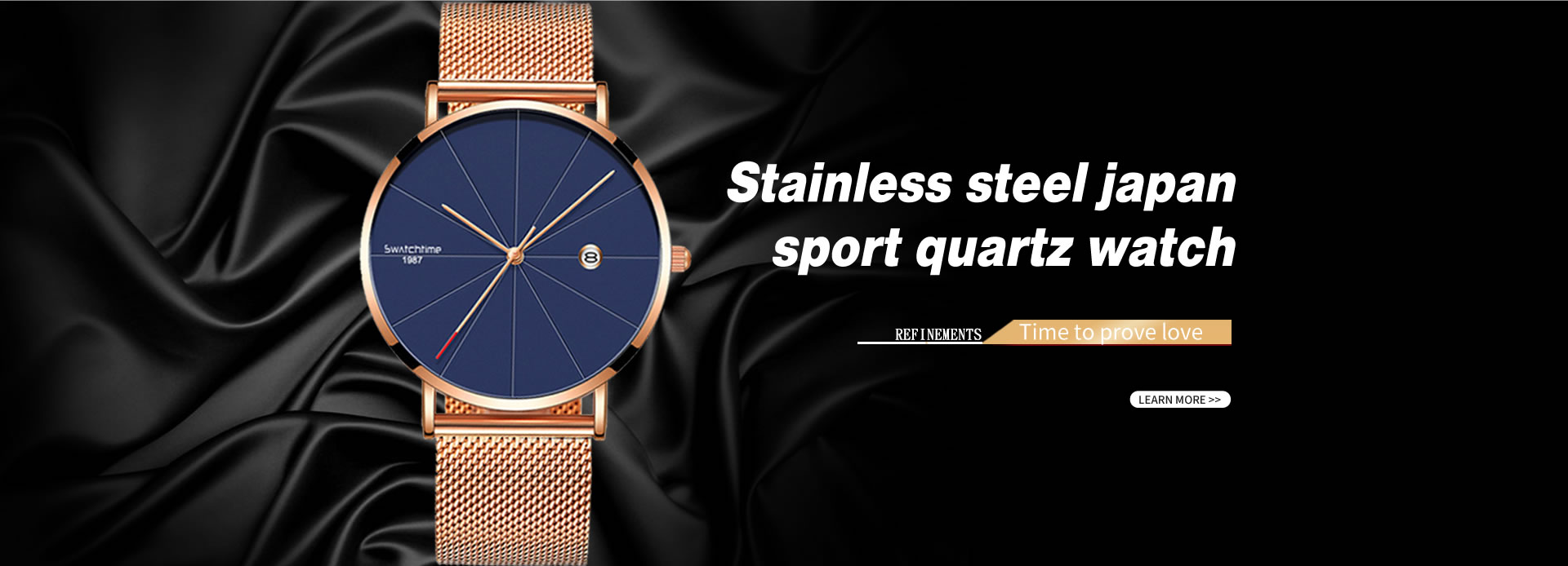 Stainless steel japan sport quartz watch
